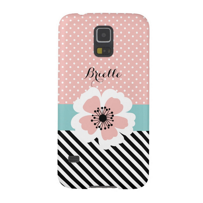 Retro Pink Polka Dots and Stripes Flower With Name Galaxy S5 Case