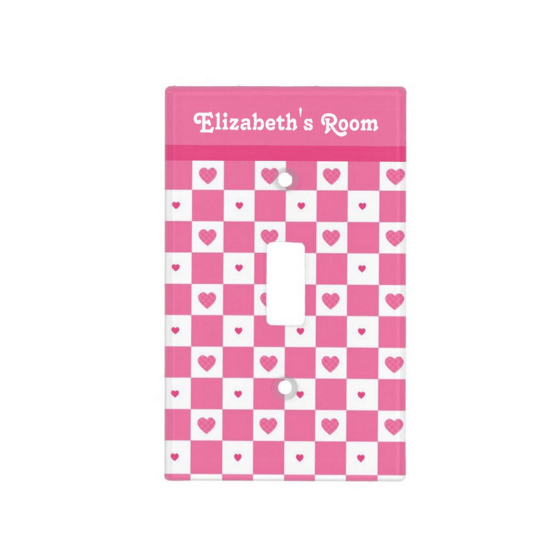 Cute Pink and White Heart Pretty Squares With Girls Name Light Switch Cover