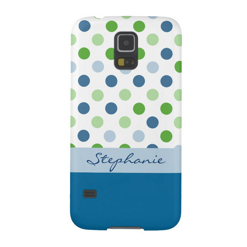 Posh Blue and Green Polka Dot Custom Name Samsung Galaxy S5 Case