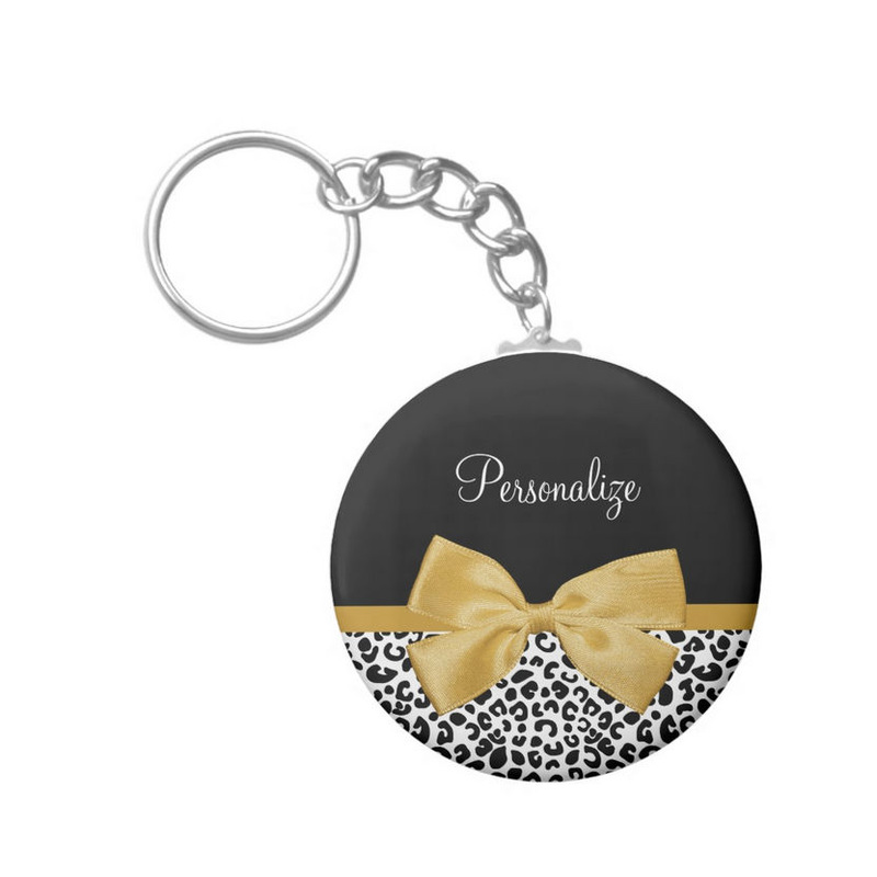 Girly Leopard Print Chic Gold Bow With Name Basic Round Button Keychain