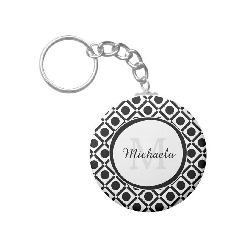 Modern Black and White Geometric Monogram and Name Button Keychain