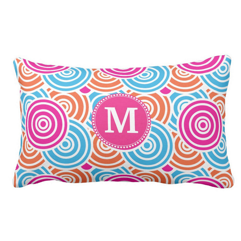 Fun Personalized Monogram Hot Pink and Turquoise Geometric Circles Throw Pillow