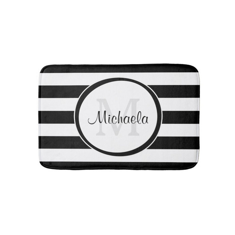 Trendy Black White Stripes With Monogram and Name Bathroom Mat