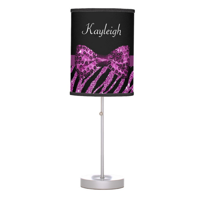 Chic Purple Zebra Print FAUX Glitz Sequin Pattern Bow With Name Desk Lamp
