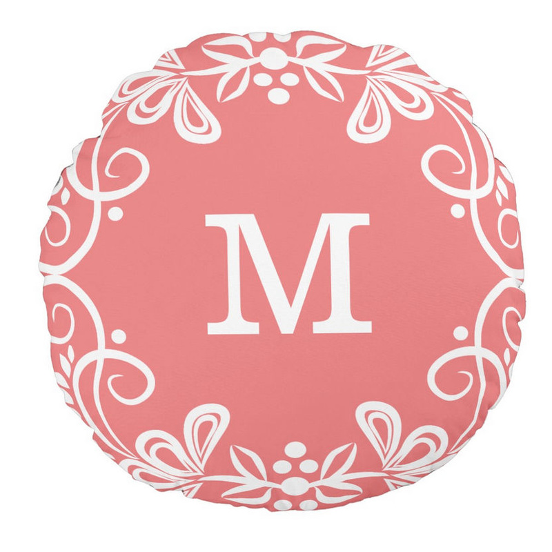 Coral and White Custom Monogram Decorative Swirls Round Throw Pillow