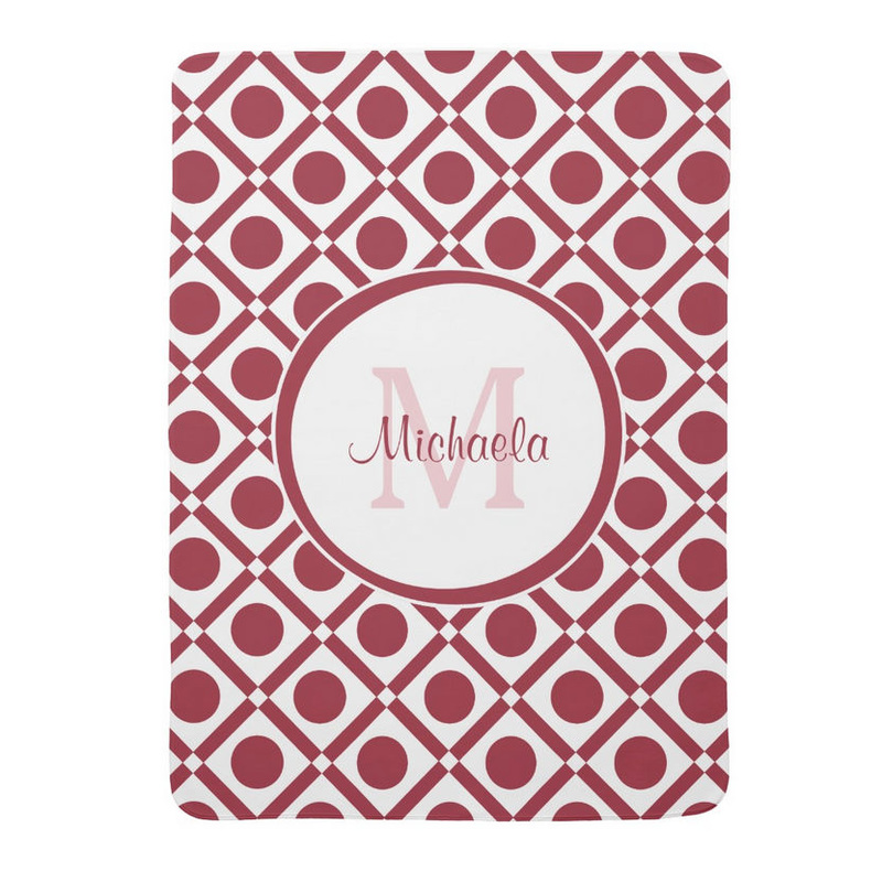 Modern Red and White Geometric Monogram Baby Name Receiving Blanket