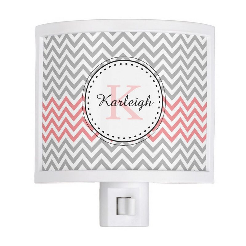 Trendy Coral and Gray Chevron Pattern With Name and Monogram Night Light