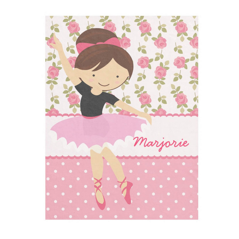 Whimsical Rose Floral Girly Pink Ballerina With Personalized Name Fleece Blanket