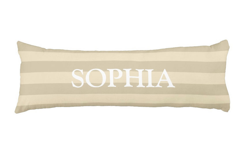 Modern Tan and Beige Wide Horizontal Stripes With Custom Name Body Pillow