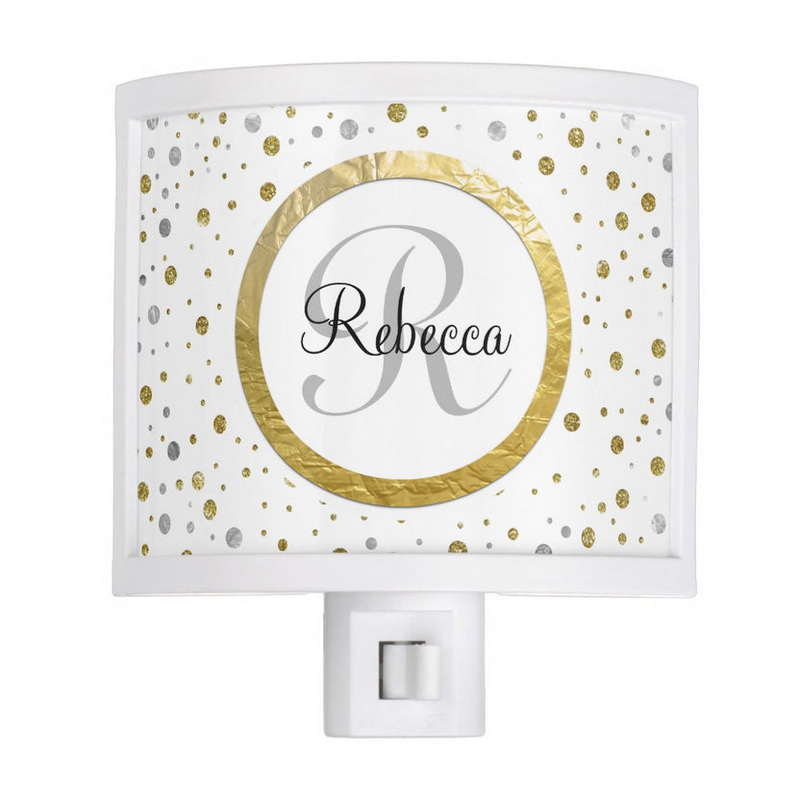 Chic Faux Gold Foil and Silver Confetti With Name and Monogram Night Lite