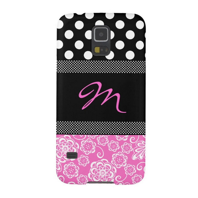 Girly Pink and Black Monogram Dots and Flowers Samsung Galaxy Nexus Case