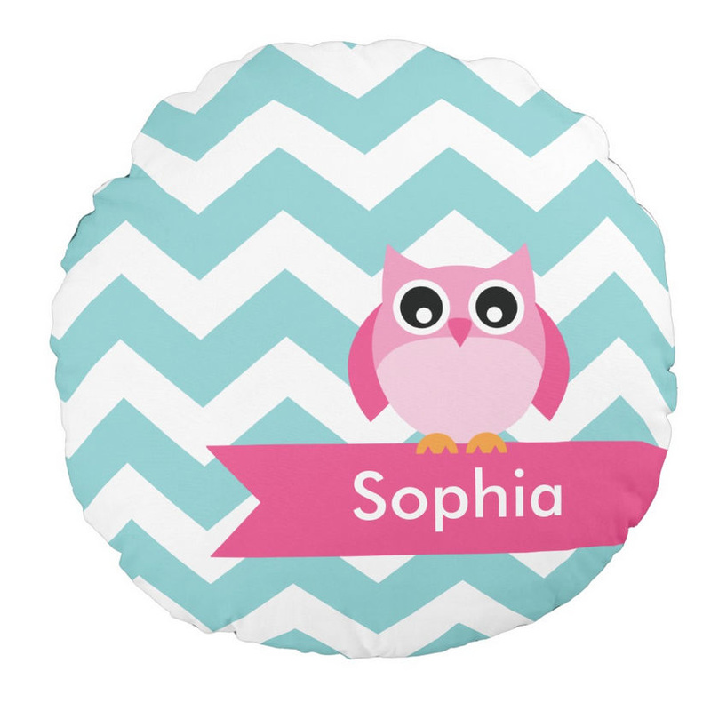 Cute Personalized Aqua and White Chevron Pink Owl Girl Name Round Pillow