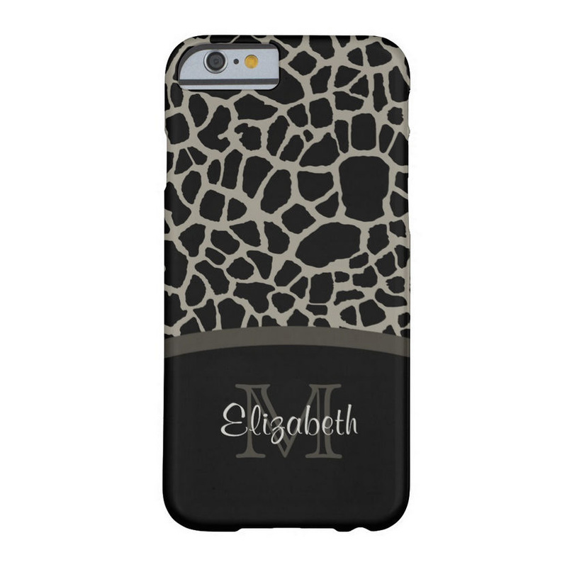 Luxury Giraffe Print Elegant Monogram and Name Barely There iPhone 6 Case