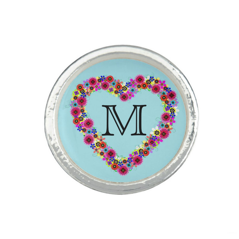 Girly Monogrammed Initial Cute Floral Heart Wreath Personalized Ring