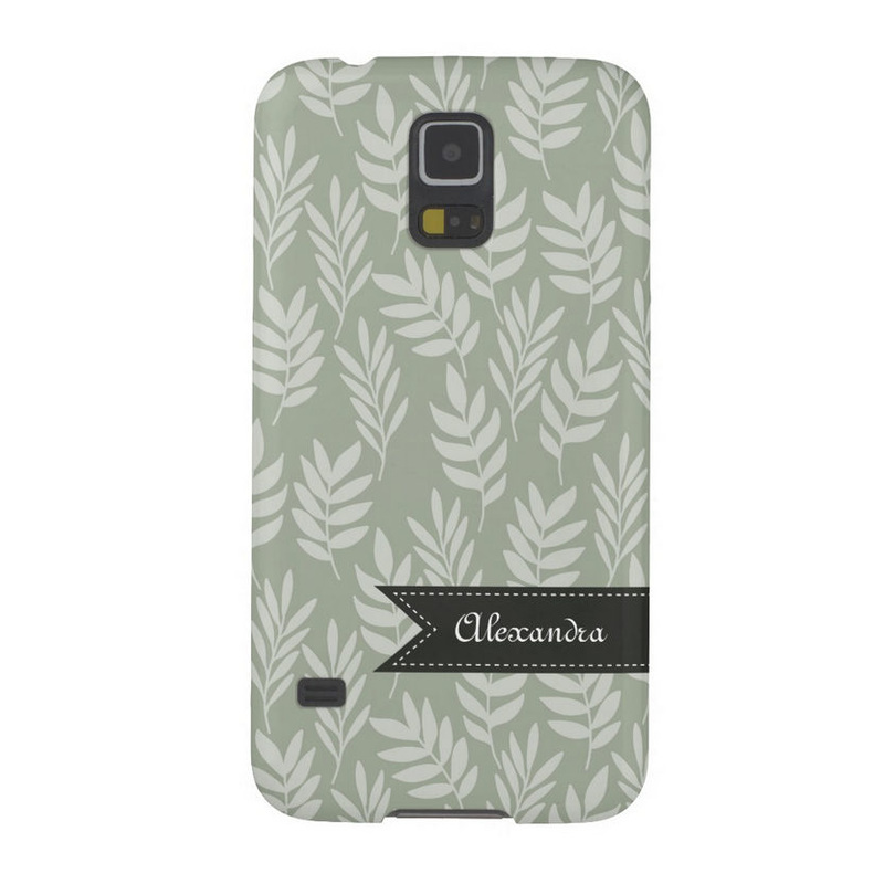 Modern Desert Sage Leaves Pattern With Name Galaxy S5 Covers