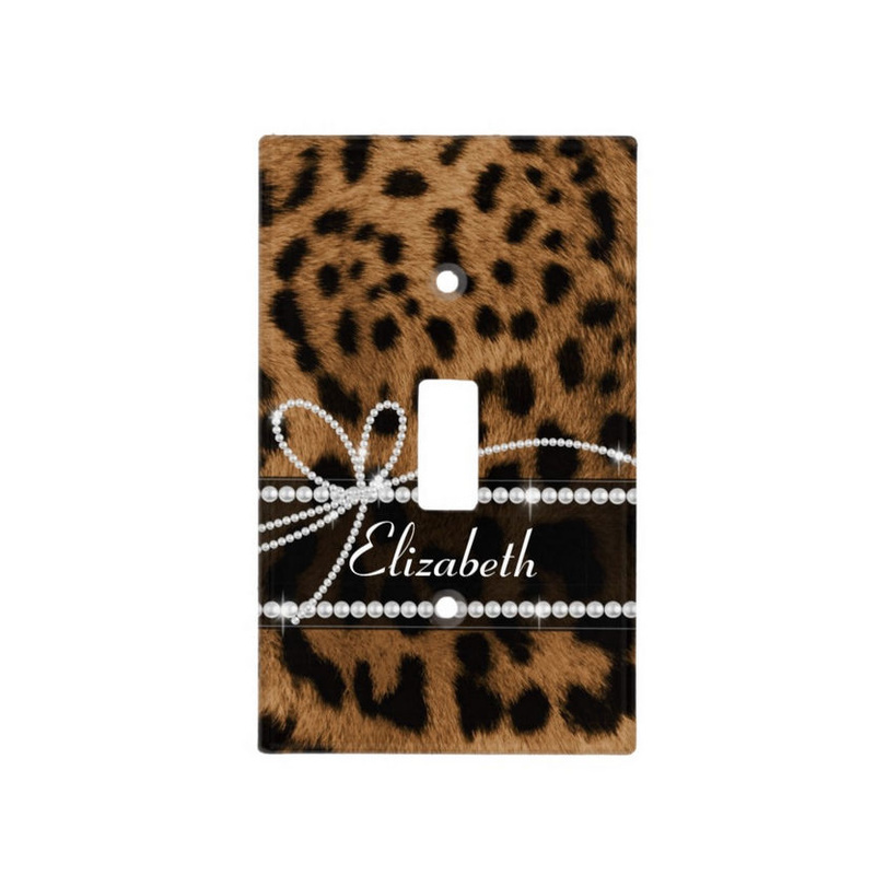 Chic Faux Brown Leopard Print Girly Pearl Bling Bow With Name Light Switch Cover