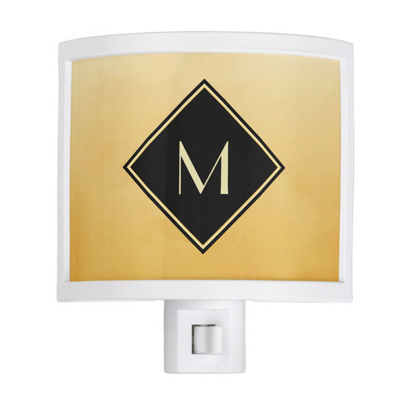 Elegant Brushed Yellow With Simple Black and Gold Monogram Night Light