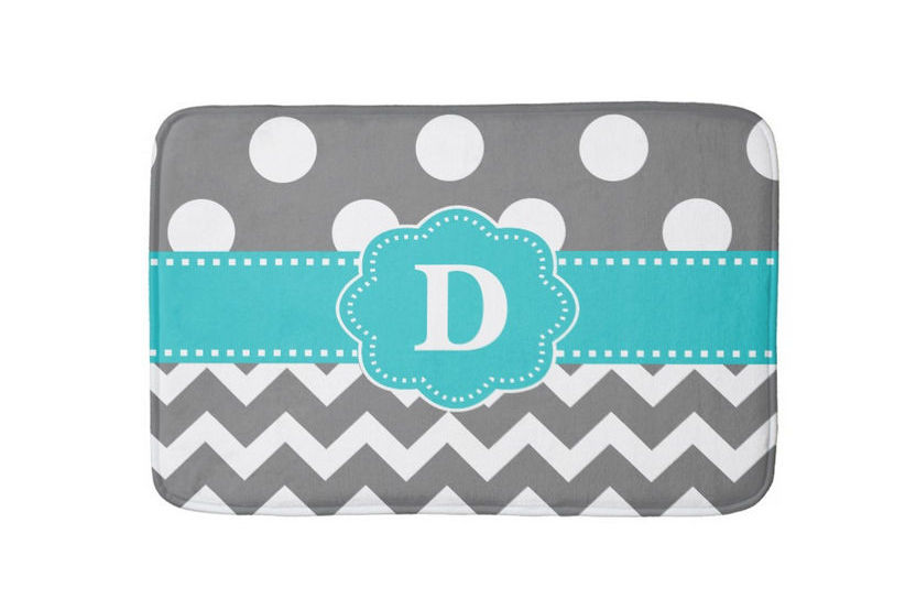 Gray and White Chevrons and Dots With Teal Monogram Bathmat