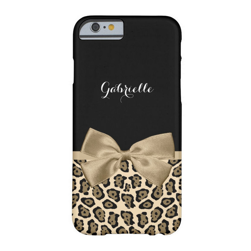Lovely Brown Jaguar Print With Ribbon Bow and Name Barely There iPhone 6 Case