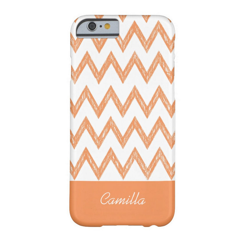 Trendy Pencil Orange Chevron Zigzags With Name Barely There iPhone 6 Case