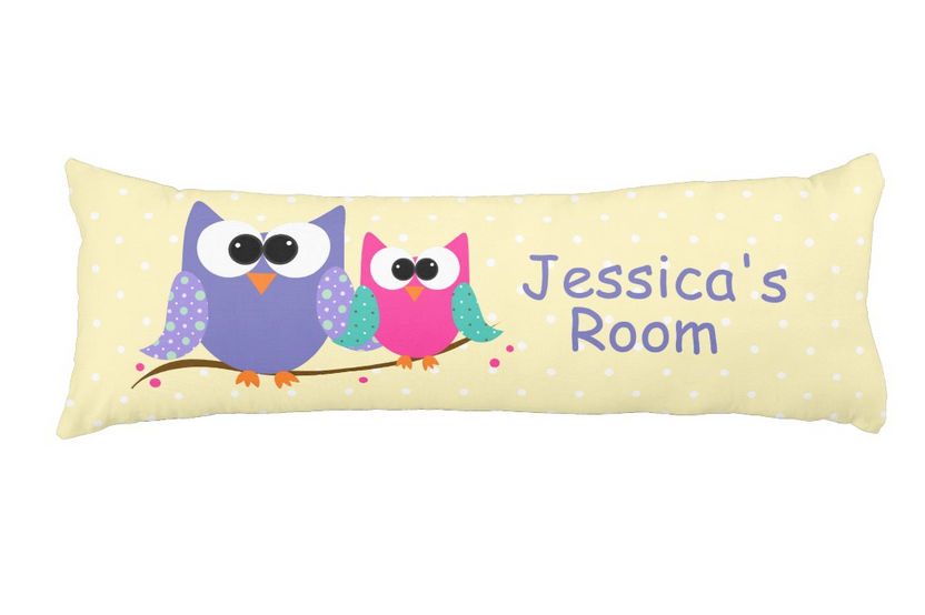 Cute Pink and Purple Owls With Personalized Name Body Pillow For Girls