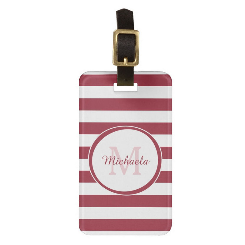 Fashionable Name Chili Pepper Red Candy Stripes Travel Bag Tags