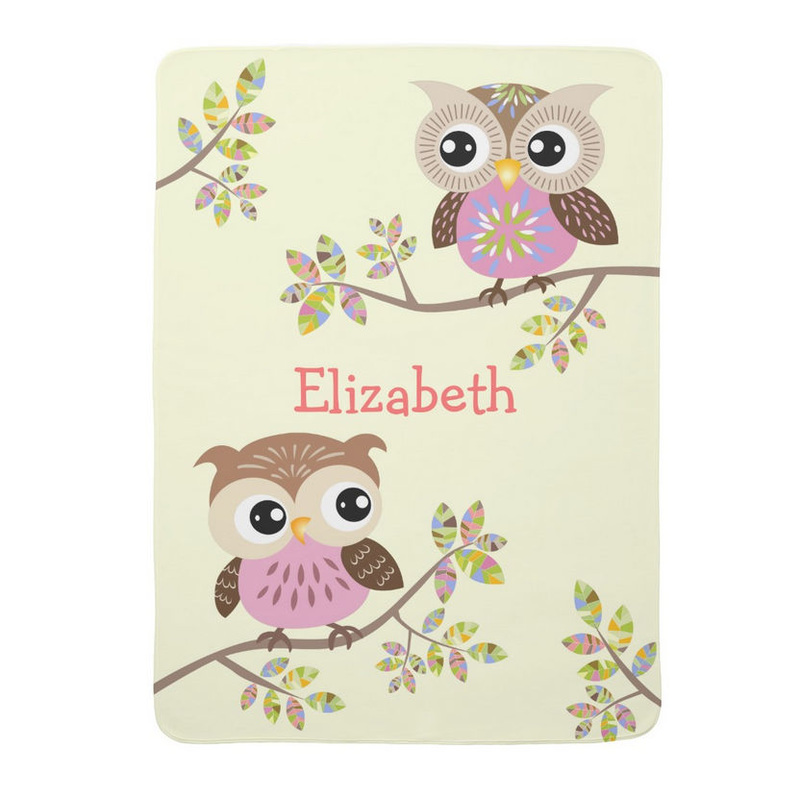 Two Cute Owls on Colorful Branches Girly Personalized Baby Blanket