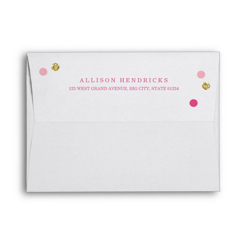 Fashionable Bridal Bling Pink and Gold Confetti Dots Invite Envelopes
