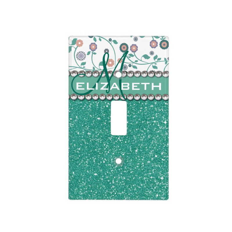 Girly Chic Mint Green Glitter Pattern With Flowers and Name Switch Plate Cover