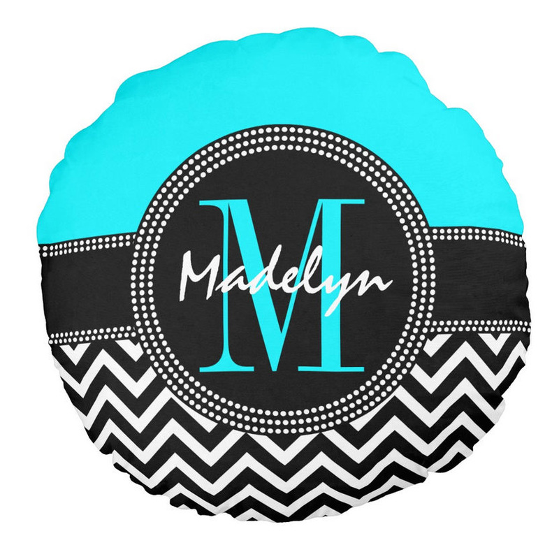 Chic Turquoise and Black Monogram and Name Chevron Pattern Round Pillow