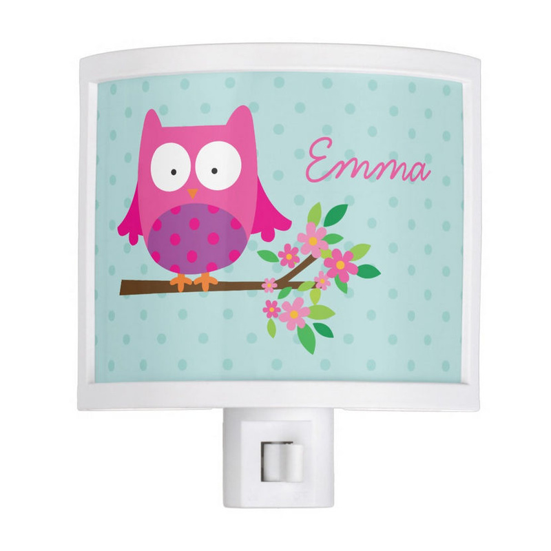 Cute Pink Owl on a Branch Mint Polka Dots Personalized Girls Name Light Night