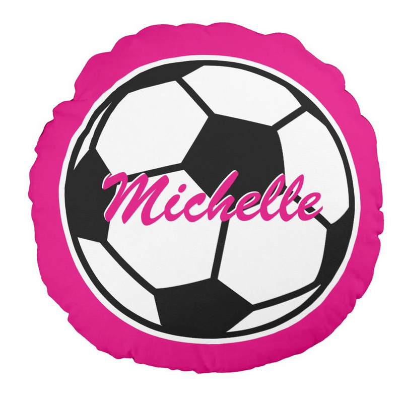 Cute and Sporty Hot Pink and Black Soccer Ball Personalized With Name Round Pillow