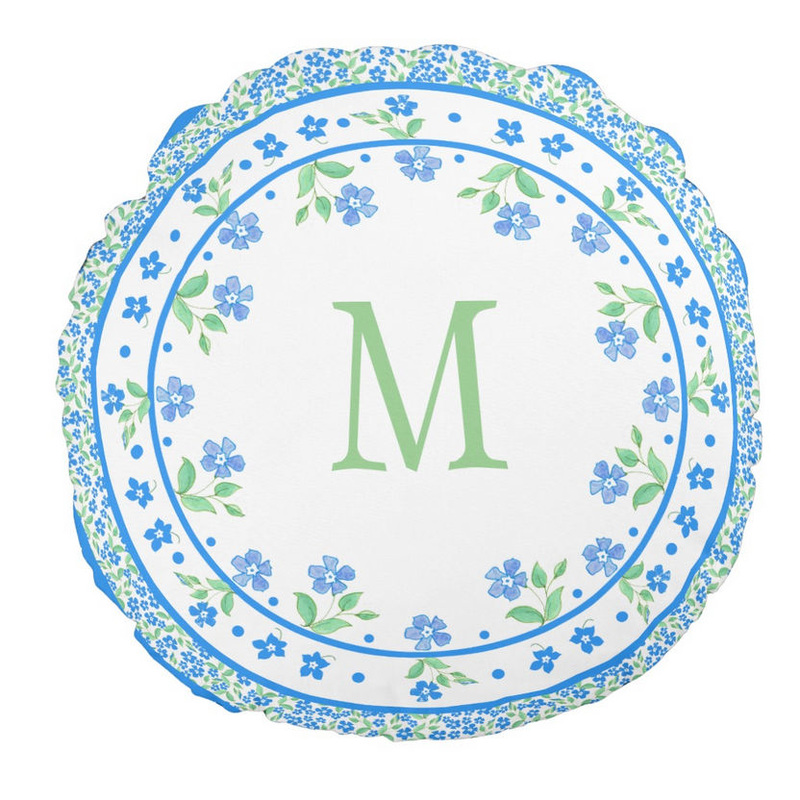 Pretty Monogrammed Blue Green Periwinkles Floral Border Round Pillow