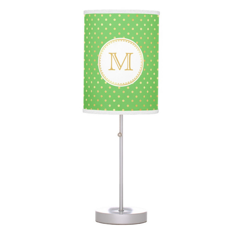 Trendy Green and Gold Polka Dots With Elegant Circle Monogram Desk Lamp