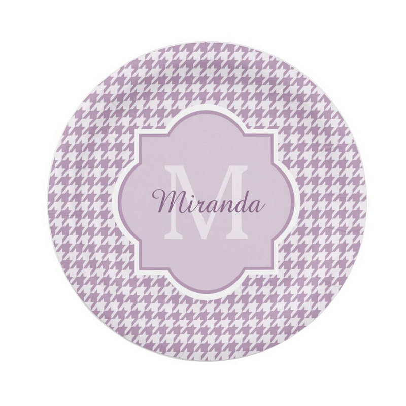 Chic Monogram Light Purple Houndstooth With Personalized Name Paper Plates