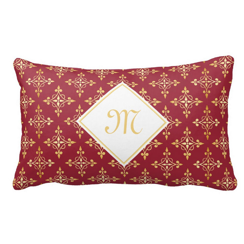 Luxury Monogram Red and Gold Quatre Floral Throw Pillows
