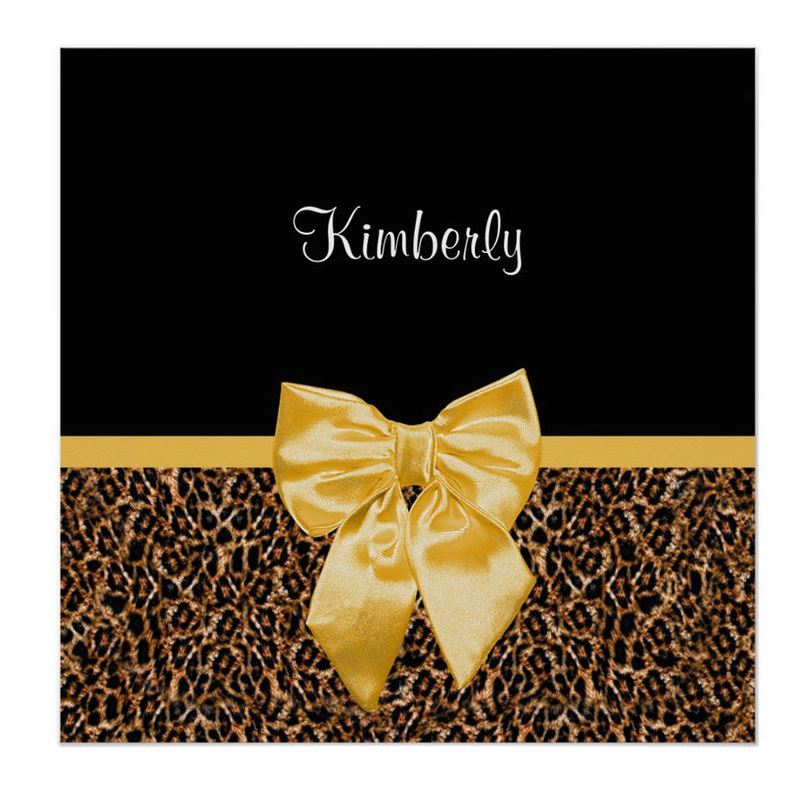 Stylish Leopard Print Elegant Yellow Bow and Name Poster Print