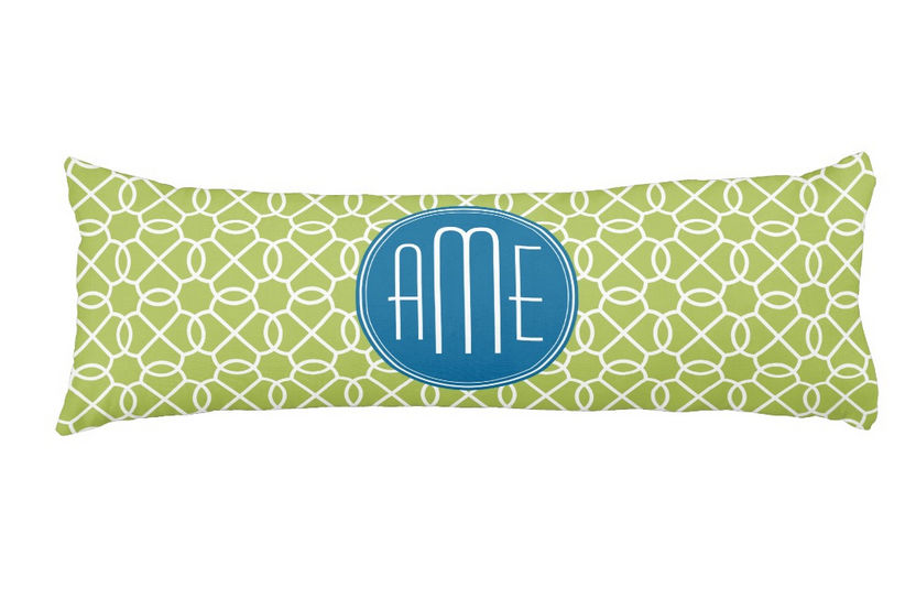 Modern Lime Green and Blue Geometric Pattern Monograms Body Pillow