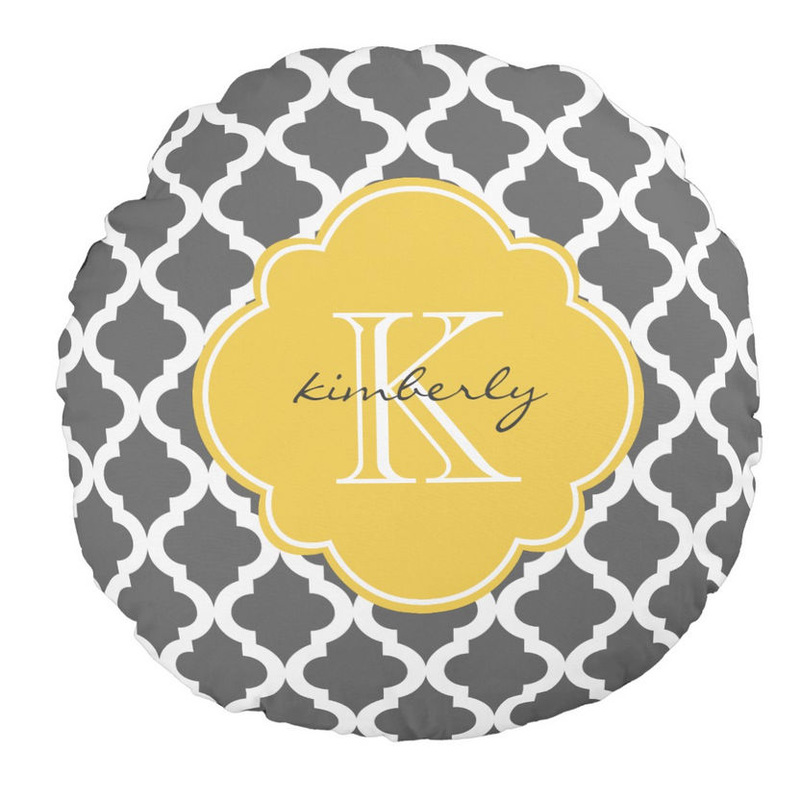 Dark Gray and Yellow Moroccan Quatrefoil Monogrammed  Round Pillow