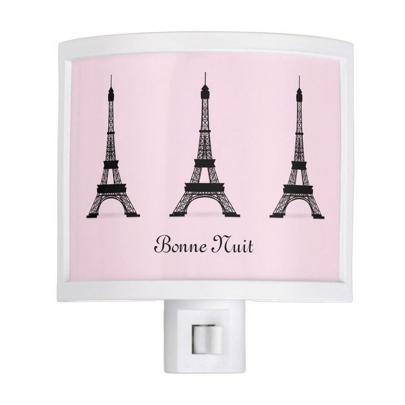 Girly Personalized Black and Pink French Style Eiffel Towers Night Light