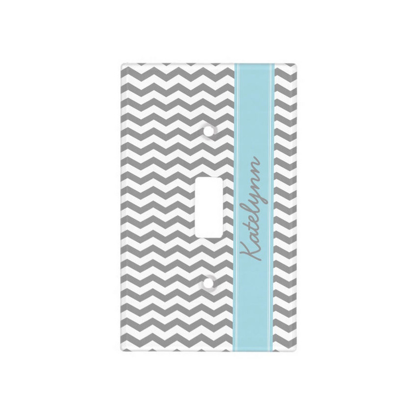 Gray Chevron Zigzag Pattern With Light Blur Name Light Switch Plate Cover