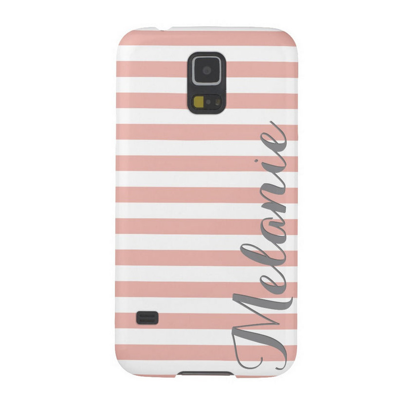 Stylish Pink and White Horizontal Stripes Pattern and Name Cases For Galaxy S5