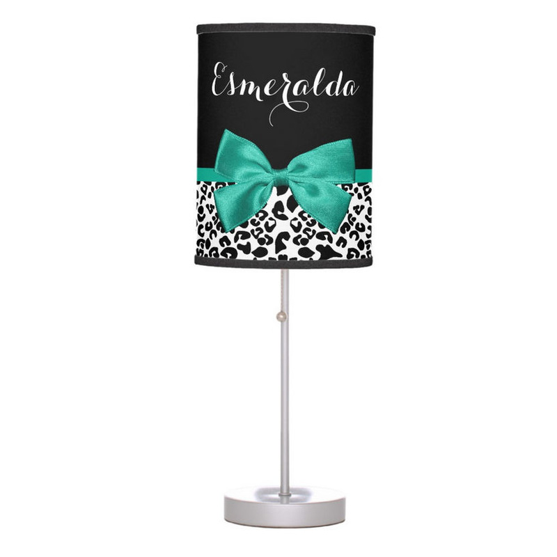 Girly Leopard Print Emerald Green Ribbon Bow With Chic Girls Name Table Lamp