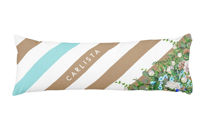 Stylish Tan and Aqua Floral and Stripes With Personalized Name Body Pillow