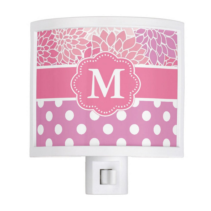 Girly Pink and Purple Floral With Polka Dots Monogrammed Nite Lite