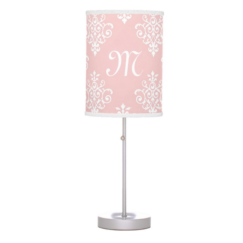 Sweet Soft Pink and White Damask With Monogram Desk Lamps