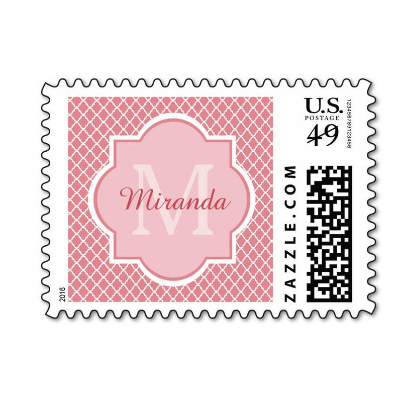 Chic Pink Quatrefoil Monogram With Name Postage Stamps