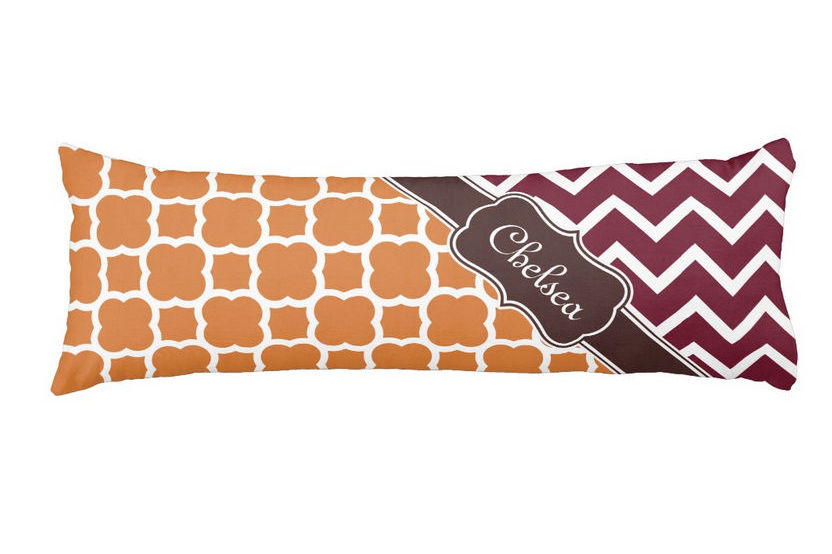 Elegant Orange Lattice Maroon Chevron Patterns Brown Name Body Pillow