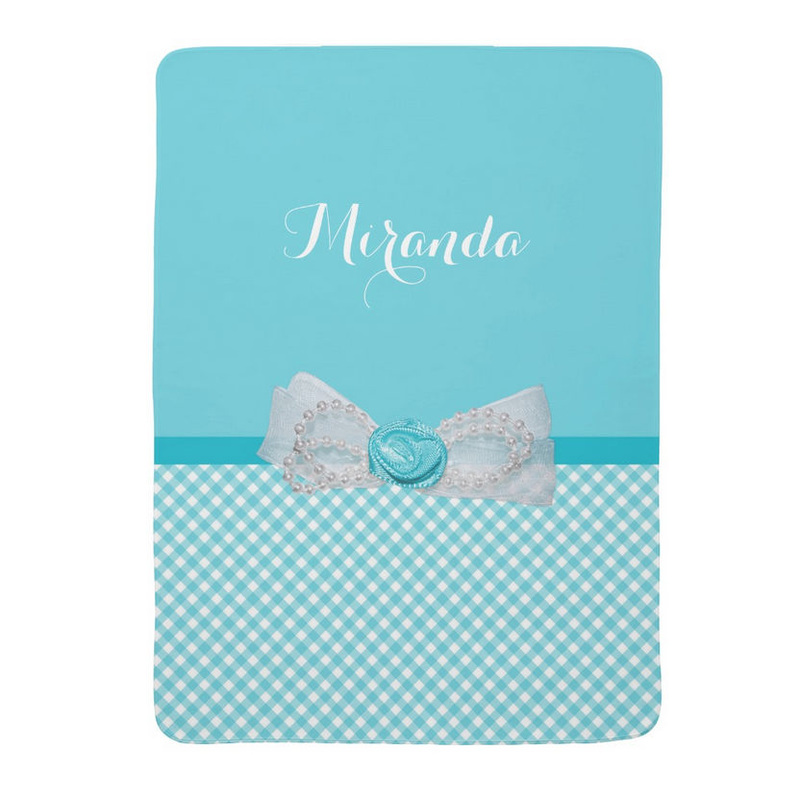 Girly Aqua Gingham Cute Pearls Rose Bow With Name Baby Blankets