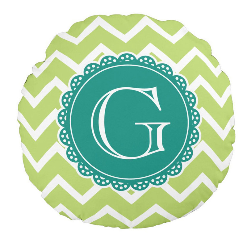 Girly Lime Chevron Lacey Circle With Teal Monogram Round Throw Pillow